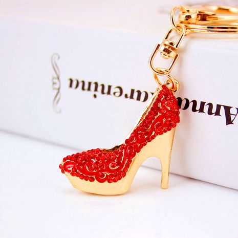 Creative cute women's shoes high heels  diamond-studded car keychain NHAK272821's discount tags