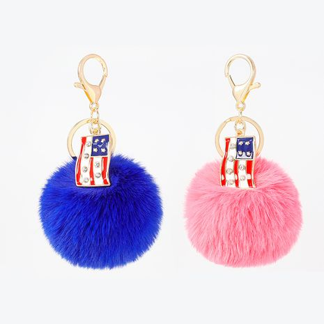 new alloy oil dripping  8CM imitation rex rabbit fur ball keychain  NHAP272823's discount tags