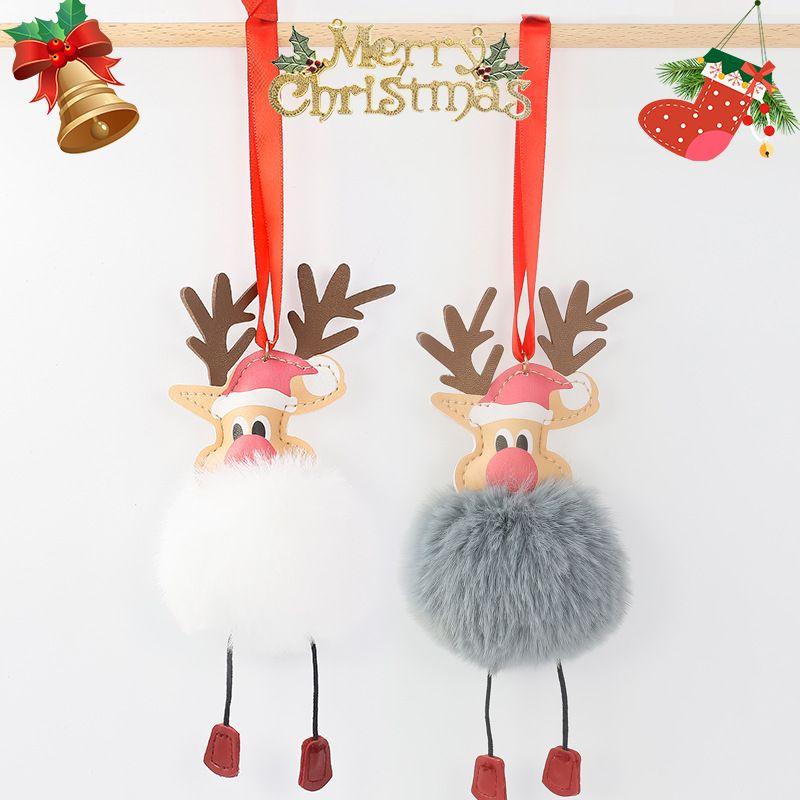 8CM imitation rex rabbit fur ball pendant creative Christmas PU elk keychain NHAP272827