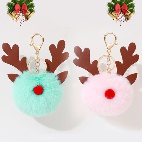 Christmas Gift Elk Fur Ball Pendant 8CM Rex Rabbit Pompom PU Antler keychain  NHAP272828's discount tags