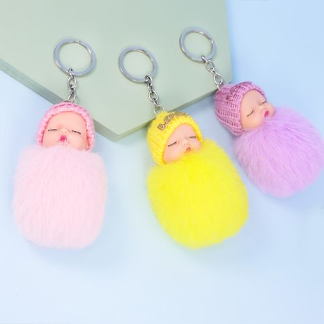 plush sleeping doll imitating rex rabbit fur ball doll keychain  NHAP272833's discount tags
