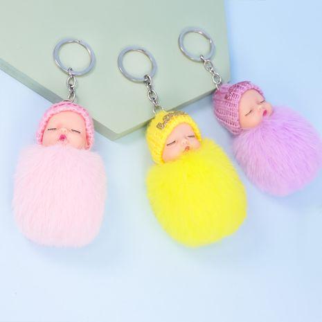 muñeco durmiente de peluche que imita el llavero de muñeca de bola de piel de conejo rex NHAP272833's discount tags