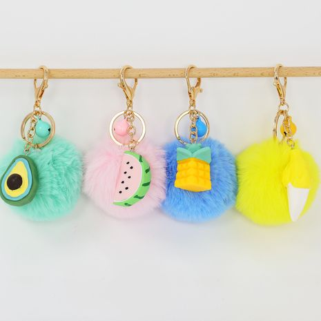 Creative trend DIY series faceted fruit resin hair ball  car keychain  NHAP272834's discount tags