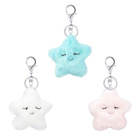 new artificial fur   cartoon star keychain NHAP272841's discount tags