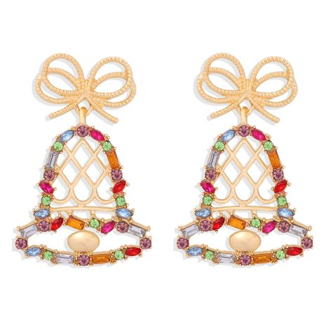 fashion  pendant-shaped inlaid colored diamonds bell earrings NHJQ273514's discount tags