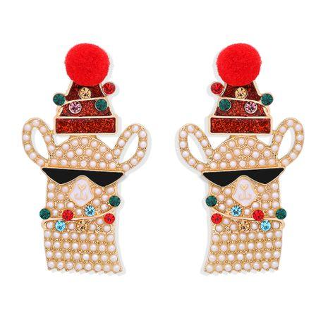 nouvelles boucles d'oreilles en diamant de couleur perle incrustées d'élan NHJQ273513's discount tags