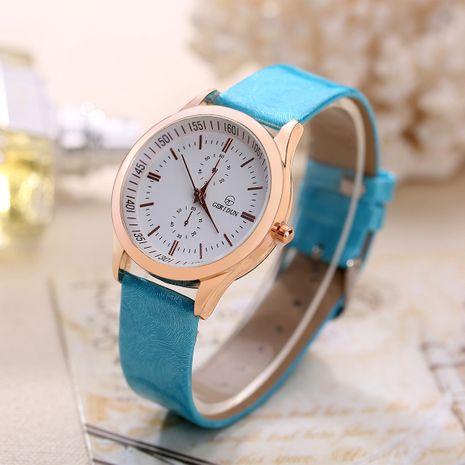 reloj de cuarzo de cuero de pu de moda de cinturón de escala simple NHHK272939's discount tags