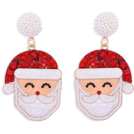 Boucles d'oreilles en diamant coloré incrusté de Noël mode Père Noël NHJQ273807's discount tags
