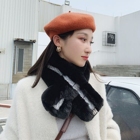 rabbit fur Korean soft herringbone scarf NHCM272999's discount tags