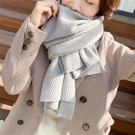 Korean pure color knitting thick warm wool scarf  NHCM273016's discount tags