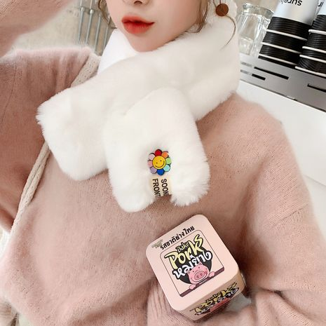 Korean soft sunflower faux rabbit fur scarf NHCM273022's discount tags