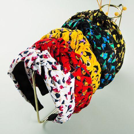 Korean fashion fabric bronzing mixed color printing headband  NHLN273053's discount tags
