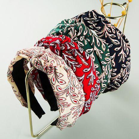 Korean  new ethnic style high-end fabric printed small flower headband  NHLN273054's discount tags