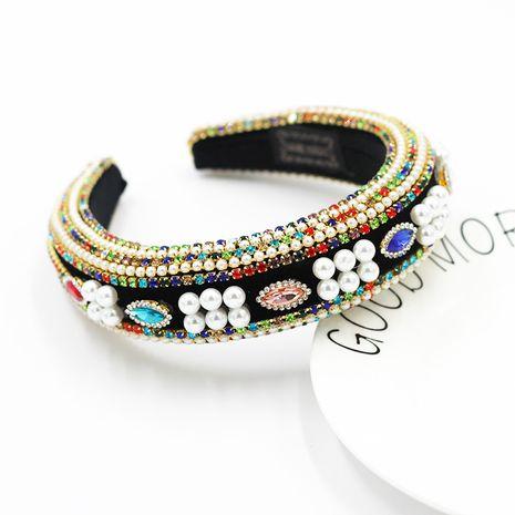 New fashion  sponge pearl diamond geometric exaggerated ladies headband  NHWJ273060's discount tags
