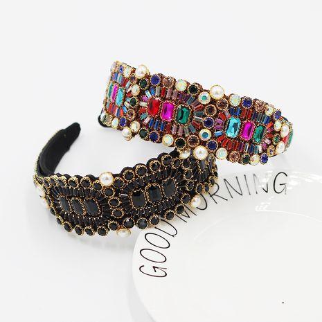 New baroque fashion  wide-sided luxury full diamond color geometric headband NHWJ273061's discount tags