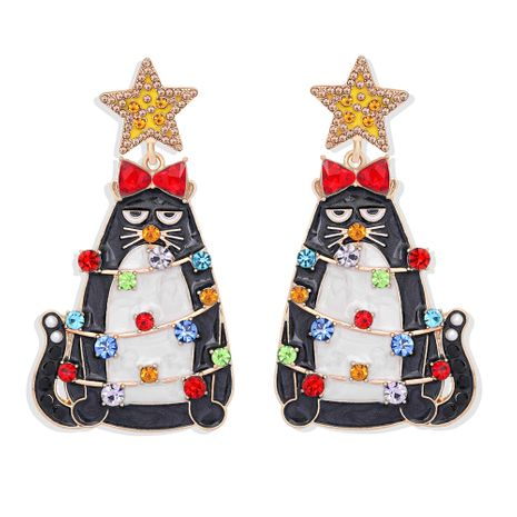 Boucles d'oreilles fantaisie de Noël avec gros chat incrusté de diamants colorés NHJQ273806's discount tags