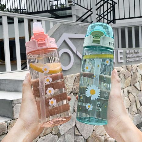 fashion daisy printing plastic portable handle take-away water cup  NHtn273075's discount tags