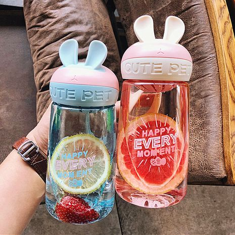 Korean  cute rabbit plastic cup  carry tea leakage sports  water cup NHtn273081's discount tags