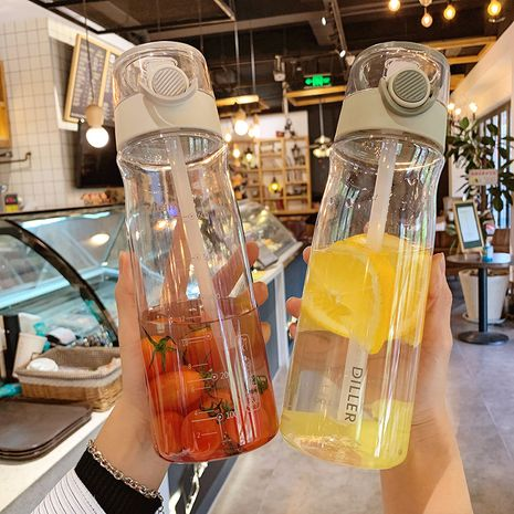 Simple  plastic anti-drop sports bottle large capacity 840MLstraw anti-choke cup NHtn273100's discount tags