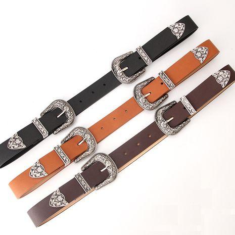 Cinturones de estilo retro con hebilla tallada de dos cabezas NHJN273108's discount tags