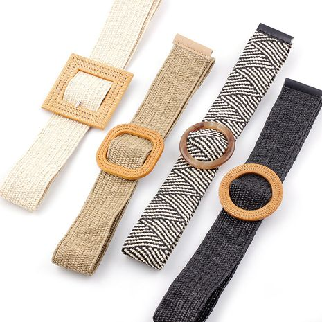 New PP straw woven  round buckles fashion casual decoration all-match trousers elastic belt NHPO273112's discount tags