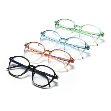 Comfortable   round blue anti-blue glasses color fashion flat glasses NHXU273143's discount tags