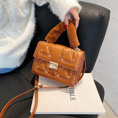 Korean plush rivet diamond lock buckle handbags NHLH273194's discount tags