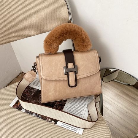 new fashion autumn and winter wide strap plush single shoulder messenger bag NHTC273253's discount tags