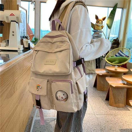all-match casual transparent stitching backpack NHHX273304's discount tags
