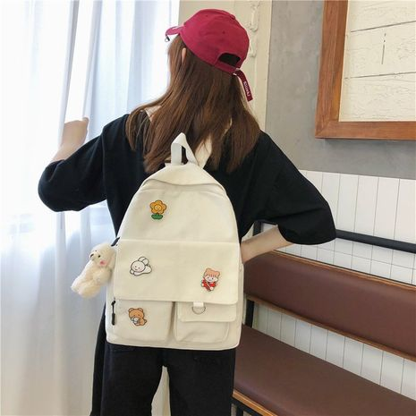 vintage cute cartoon student canvas backpack  NHHX273325's discount tags