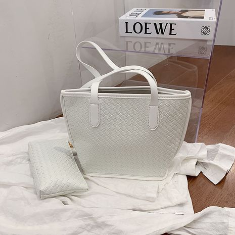 Korean woven one-shoulder solid color casual portable tote bag NHLH273359's discount tags