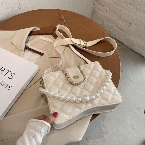 bolso de hombro único de perlas de moda rombo NHLH273399's discount tags