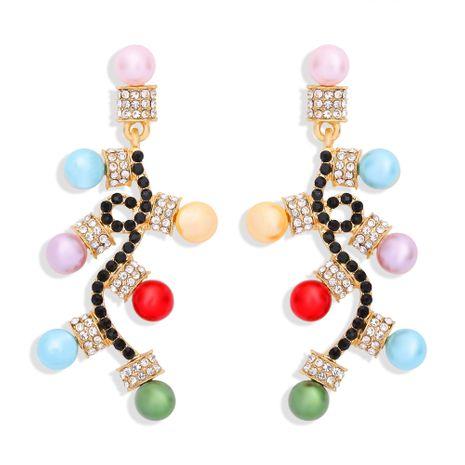 Mode de Noël incrustée de boucles d'oreilles diamants colorés NHJQ273809's discount tags
