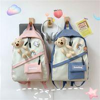 Korean plaid backpack NHLH273337