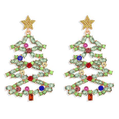 Boucles d'oreilles tout-assorties pour femmes de Noël Nouvel arbre incrusté de diamants de couleur NHJQ273810's discount tags