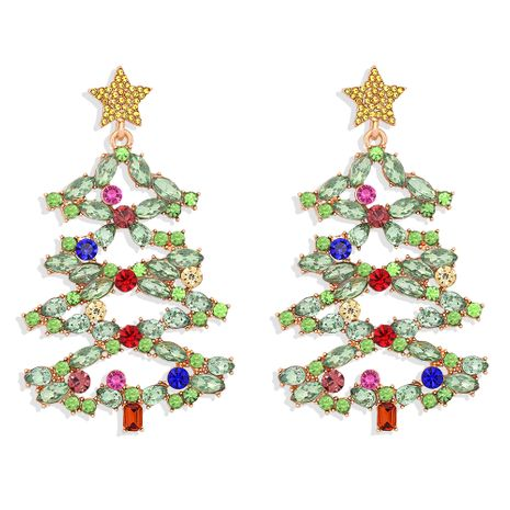 Christmas  new  tree  inlaid  colored diamonds fashion all-match women's earrings NHJQ273810's discount tags