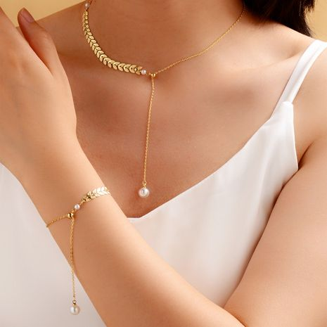 new  fashion gold-plated wheat ear adjustable necklace bracelet NHOT273824's discount tags