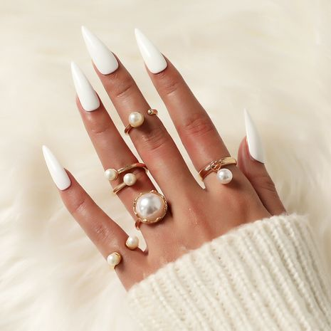 fashion gold-plated pearl ring set  NHOT273821's discount tags