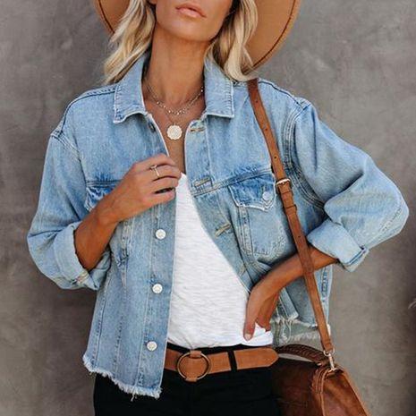 Nouvelle veste en jean à manches longues de couleur unie à revers lâche NHWA274527's discount tags