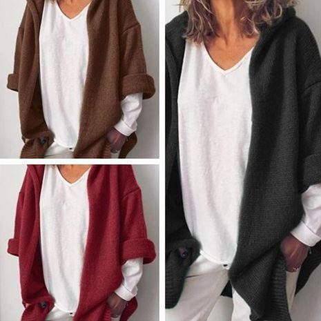 veste tricotée décontractée à manches longues et à capuche de couleur unie sauvage NHWA274529's discount tags