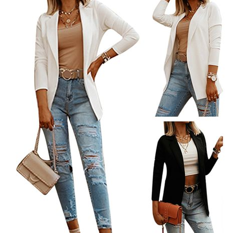fashion casual solid color versatile temperament long-sleeved suit jacket NHUO274508's discount tags
