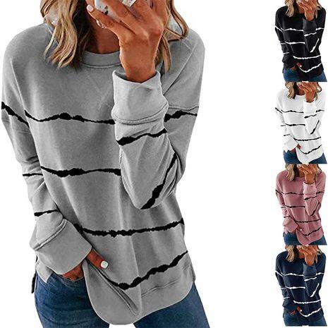 top ample à manches longues col rond rayé imprimé tie-dye NHUO274504's discount tags