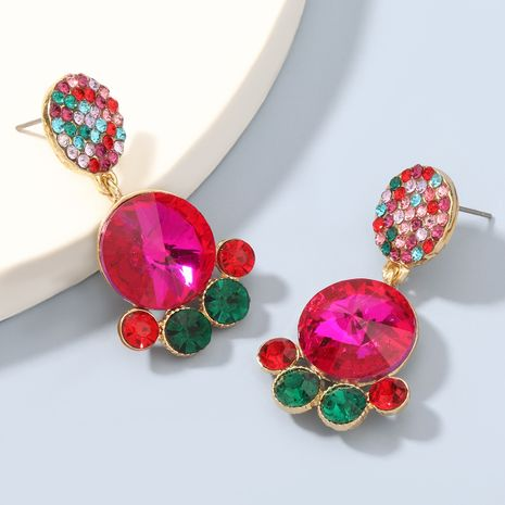 Fashion colored diamond multi-layer alloy rhinestones glass earrings NHJE273680's discount tags