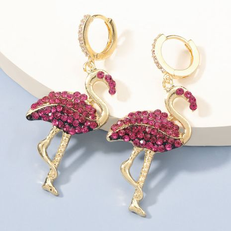 exaggerated fashion alloy diamond-studded flamingo earrings NHJE273682's discount tags