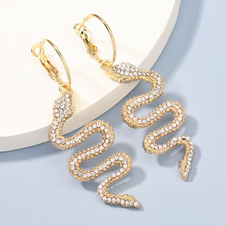 exaggerated fashion alloy diamond-studded acrylic snake-shaped earrings  NHJE273683's discount tags