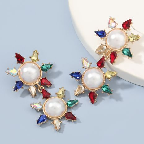 Fashion colored diamond multi-layer alloy inlaid pearl flower earrings  NHJE273686's discount tags