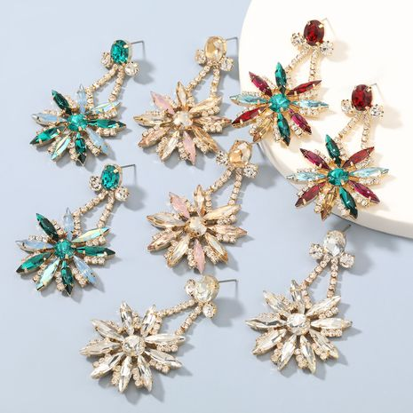 Fashion colorful diamond exaggerated alloy flower earrings  NHJE273689's discount tags