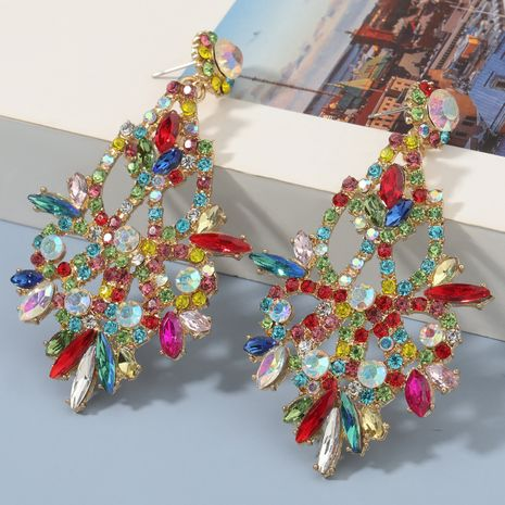 Fashion colored diamond alloy flower earrings NHJE273692's discount tags