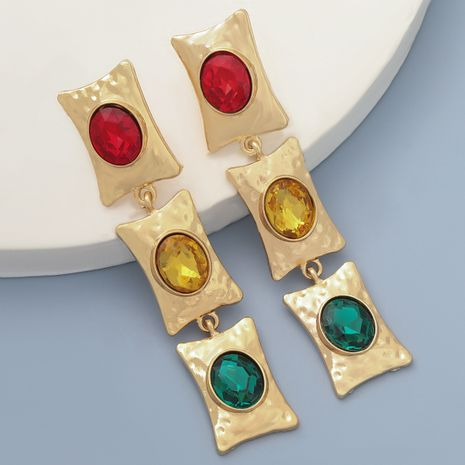 Fashion colorful diamond multi-layer square alloy long earrings  NHJE273693's discount tags