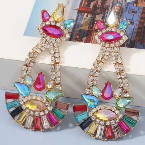 Fashion colorful diamond alloy flower earrings NHJE273695's discount tags